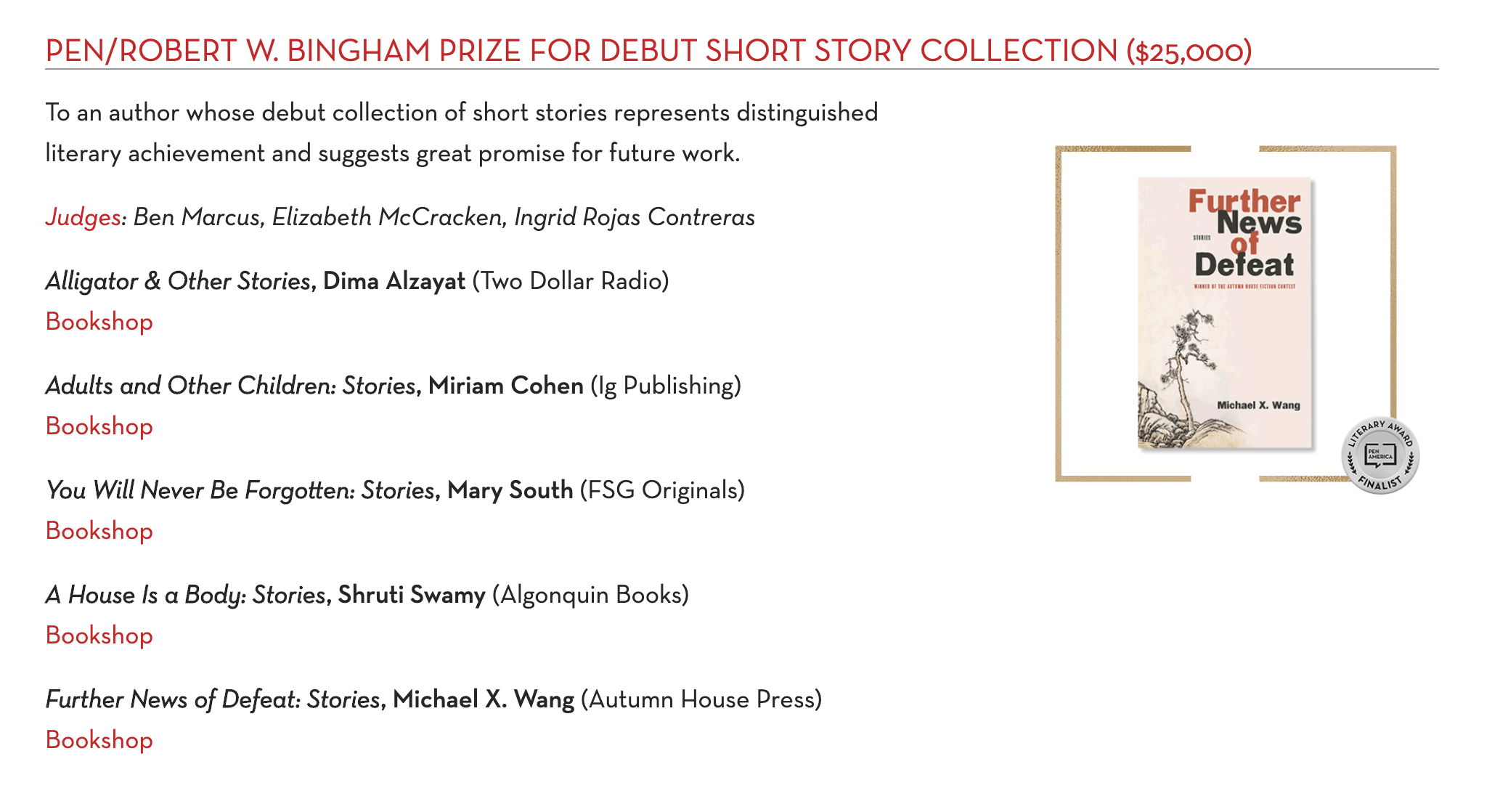 PEN/ROBERT W. BINGHAM PRIZE FOR DEBUT SHORT STORY COLLECTION